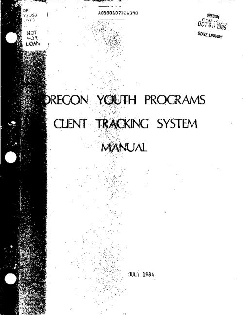 "This archived document is maintained by the Oregon State Library as part of the Oregon Documents Depository Program.  It is for informational purposes and may not be suitable for legal purposes., ""July 1984."", ""The system was a cooperative effort among the Clackamas, Multnomah, and Washington County Juvenile Services Commission, the Tri-City Youth Services Consortium, the City of Portland Human Resources Bureau, Multnomah County Mental Health Department, and the State Juvenile Services Commission""--P. 2, Title from cover, Mode of access: Internet from the Oregon Government Publications Collection."