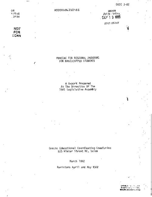 "This archived document is maintained by the Oregon State Library as part of the Oregon Documents Depository Program.  It is for informational purposes and may not be suitable for legal purposes., ""March 1982; revisions April and May 1982."", ""OECC 3-82."", Title from cover, Mode of access: Internet from the Oregon Government Publications Collection."