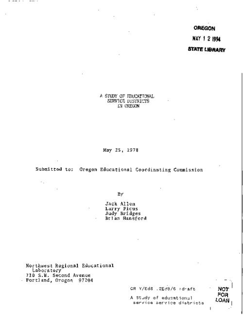 "This archived document is maintained by the Oregon State Library as part of the Oregon Documents Depository Program.  It is for informational purposes and may not be suitable for legal purposes., ""May 25, 1978."", ""Submitted to: Oregon Educational Coordinating Commission."", Mode of access: Internet from the Oregon Government Publications Collection."