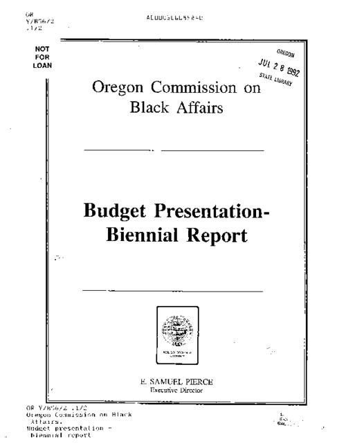 "This archived document is maintained by the Oregon State Library as part of the Oregon Documents Depository Program.  It is for informational purposes and may not be suitable for legal purposes., ""March 24, 1989""--Leaf 1, Title from cover, Mode of access: Internet from the Oregon Government Publications Collection."