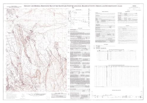 "This archived document is maintained by the Oregon State Library as part of the Oregon Documents Depository Program.  It is for informational purposes and may not be suitable for legal purposes., ""Contour interval 20 feet."", ""Field work conducted in 1987-88."", ""Prepared in cooperation with the U.S. Geological Survey and the Idaho Geological Survey as part of the COGEOMAP program."", Includes text, 2 tables, cross section, rock time chart, and quadrangle location map, Relief shown by contour lines and spot heights, Includes references, Mode of access: Internet from the Oregon Government Publications Collection., Text in English."