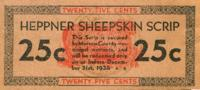 Heppner sheepskin scrip: twenty-five cents