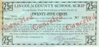 Lincoln County school scrip: 25 [cents]