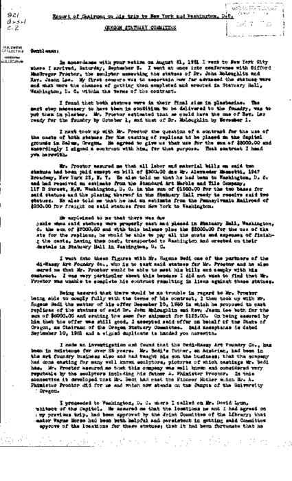 This archived document is maintained by the Oregon State Library as part of the Oregon Documents Depository Program.  It is for informational purposes and may not be suitable for legal purposes., Typescript, carbon copy, Mode of access: Internet from the Oregon Government Publications Collection., Text in English