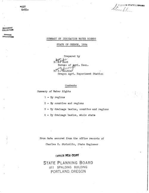 "This archived document is maintained by the Oregon State Library as part of the Oregon Documents Depository Program.  It is for informational purposes and may not be suitable for legal purposes., ""From data secured from the office records of Charles E. Stricklin, State Engineer."", Mode of access: Internet from the Oregon Government Publications Collection., Text in English."