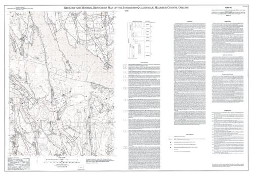 "This archived document is maintained by the Oregon State Library as part of the Oregon Documents Depository Program.  It is for informational purposes and may not be suitable for legal purposes., ""Contour interval 40 feet"", ""Mapping was conducted in 1988 and 1989 as part of the U.S. Geological Survey's Wilderness Study (Evans and others, 1990a, b) and COGEOMAP programs."", Accompanying sheet includes text, 3 tables, and 3 cross sections, Includes text, chart, and quadrangle location map, Relief shown by contours and spot heights, Title on accompanying sheet: Analytical Data and Geologic Cross Sections of the Jonesboro quadrangle, Malheur County, Oregon, Includes bibliographical references, Mode of access: Internet from the Oregon Government Publications Collection., Text in English."