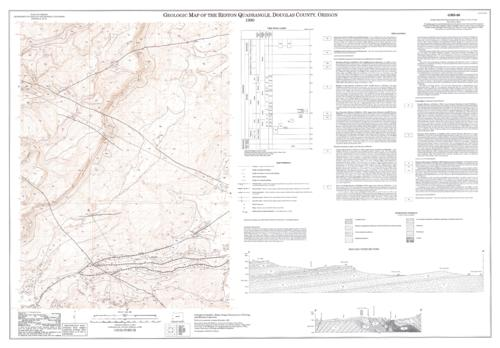 "This archived document is maintained by the Oregon State Library as part of the Oregon Documents Depository Program.  It is for informational purposes and may not be suitable for legal purposes., ""Contour interval 40 feet"", ""Field work conducted in August-November, 1989"", Accompanied by pamphlet: Geology and hydrocarbon potential of the Reston quadrangle, Douglas County, Oregon, Includes text, 2 cross sections, location map, and time rock chart, Relief shown by contours and spot heights, Includes bibliographical references in pamphlet, p.4, Mode of access: Internet from the Oregon Government Publications Collection., Text in English."