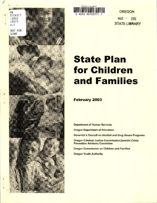 "This archived document is maintained by the Oregon State Library as part of the Oregon Documents Depository Program.  It is for informational purposes and may not be suitable for legal purposes., ""This report includes priorities and strategies proposed by state agencies to improve the quality and accessibility of services to support the development of children into successful adulthood. It also lays out recommendations for the continued implementation of the legislation and a state agency work plan for 2003-04""--Page 3., Includes bibliographic references (pages 110-113)., Mode of access: Internet from the Oregon Government Publications Collection., Text in English."