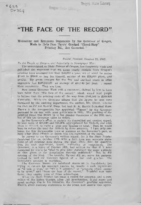"""October 23, 1912."", Title from PDF caption (viewed on November 21, 2016)., This archived document is maintained by the Oregon State Library as part of the Oregon Documents Depository Program. It is for informational purposes and may not be suitable for legal purposes., Mode of access: Internet from the Oregon Government Publications Collection., Text in English."