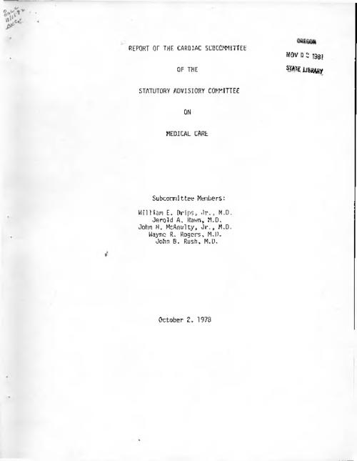 """October 2, 1978."", Title from PDF cover (viewed on November 21, 2016)., This archived document is maintained by the Oregon State Library as part of the Oregon Documents Depository Program. It is for informational purposes and may not be suitable for legal purposes., Mode of access: Internet from the Oregon Government Publications Collection., Text in English."
