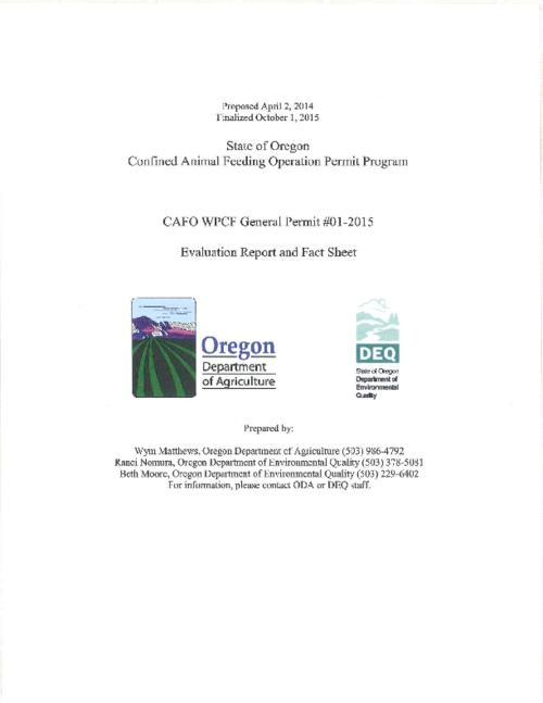 "Title from PDF cover (viewed on December 12, 2016)., ""Proposed April 2, 2014."", ""Finalized October 1, 2015."", This archived document is maintained by the Oregon State Library as part of the Oregon Documents Depository Program. It is for informational purposes and may not be suitable for legal purposes., Includes bibliographical references., Mode of access: Internet from the Oregon Government Publications Collection., Text in English."