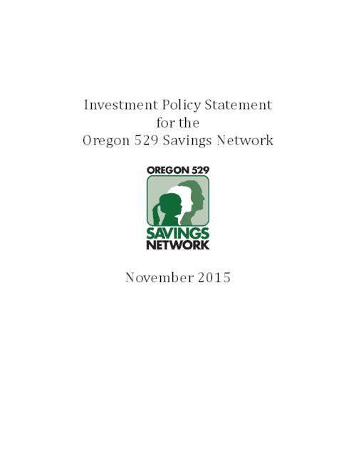 Investment Policy Statement For The Oregon  Savings Network