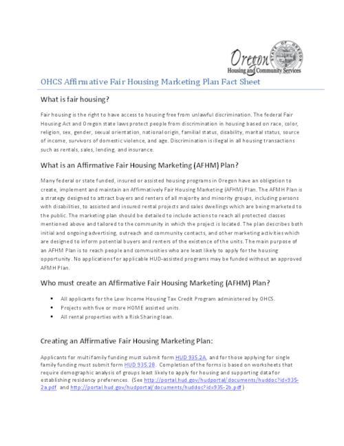 OHCS affirmative fair housing marketing plan fact sheet | Oregon ...