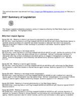 2007 summary of legislation, Summary of legislation