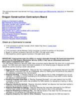 Consumer help, Construction Contractors Board consumer help