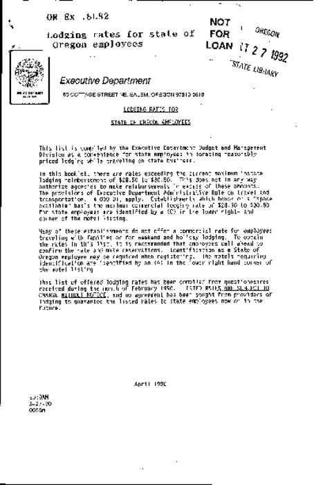 "This archived document is maintained by the Oregon State Library as part of the Oregon Documents Depository Program.  It is for informational purposes and may not be suitable for legal purposes., ""3-27-90."", Title from caption, Mode of access: Internet from the Oregon Government Publications Collection."