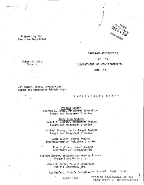 "This archived document is maintained by the Oregon State Library as part of the Oregon Documents Depository Program.  It is for informational purposes and may not be suitable for legal purposes., ""August 1990."", Title from cover, Mode of access: Internet from the Oregon Government Publications Collection."