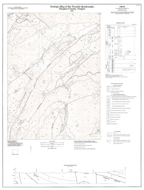 "This archived document is maintained by the Oregon State Library as part of the Oregon Documents Depository Program.  It is for informational purposes and may not be suitable for legal purposes., ""Funded in part by the National Geologic Mapping Program (STATEMAP) ... ."", Includes 1 location diagram, 1 cross section, and 1 time chart, Relief shown by contours and spot heights, Title from margin of envelope: Tenmile quadrangle, Includes bibliographical references (p. 4-5 of booklet), Mode of access: Internet from the Oregon Government Publications Collection., Text in English."