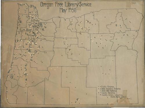 Manuscript map showing the location of public libraries, county libraries and their branches, and traveling and little libraries from the State Library., No relief shown., Includes index., Title from PDF caption (viewed on January 24, 2017)., This archived document is maintained by the Oregon State Library as part of the Oregon Documents Depository Program. It is for informational purposes and may not be suitable for legal purposes., Mode of access: Internet from the Oregon Government Publications Collection., Text in English., Version of this map printed in Mirpah Blair's Oregon education journal article from Oct. 1930, reprinted by the Oregon State Teachers Association.