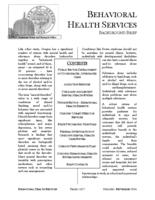 Behavioral health services, Behavioral health services background brief