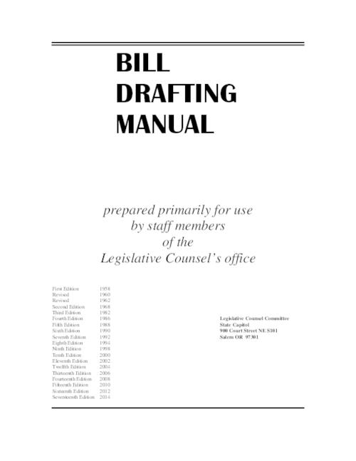 "Title from PDF cover (viewed on February 8, 2017)., ""Prepared primarily for use by staff members of the Legislative Counsel's office."", This archived document is maintained by the Oregon State Library as part of the Oregon Documents Depository Program. It is for informational purposes and may not be suitable for legal purposes., Includes bibliographical references and index., Mode of access: Internet from the Oregon Government Publications Collection., Text in English."