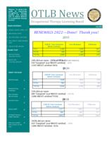 OTLB news, Occupational Therapy Licensing Board news