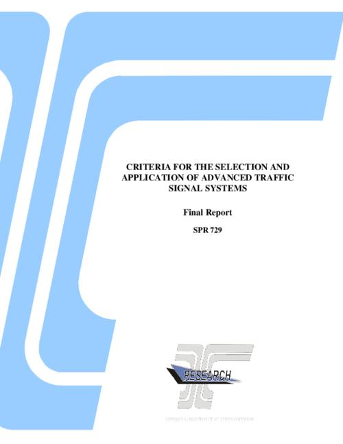 "This archived document is maintained by the Oregon State Library as part of the Oregon Documents Depository Program.  It is for informational purposes and may not be suitable for legal purposes., Title from PDF title page (viewed on December 30, 2015)., ""FHWA-OR-RD-14-08""--Technical report documentation page., ""SPR 729."", ""The goal of the project was to develop a planning level tool capable of indicating the suitability of a given traffic signal control system to a selected corridor. This planning level tool is designed to use readily available data, such as 15 minute volume and turning movement counts combined with available information regarding the various systems' control logic""--Page 1., Includes bibliographical references (pages 101-106)., Sponsored by Oregon Department of Transportation, Research Section; Federal Highway Administration, Mode of access: Internet from the Oregon Government Publications Collection., Text in English., Final report."