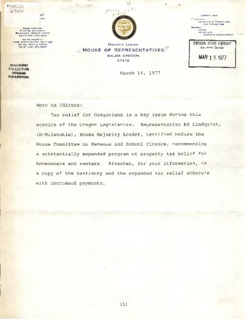 Includes letter from House of Representatives dated March 14, 1977., Title from PDF caption (viewed on February 16, 2017)., This archived document is maintained by the Oregon State Library as part of the Oregon Documents Depository Program. It is for informational purposes and may not be suitable for legal purposes., Mode of access: Internet from the Oregon Government Publications Collection., Text in English.