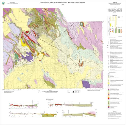 The area of the Klamath Falls geologic map lies east of the High Cascades at the south end of Upper Klamath Lake, Oregon. The digital geologic map database for the quadrangles have been created as a general-purpose data set that is applicable to land-related investigations in the earth and biological sciences. The CD contains digital files with various map coverages created in MapInfo Professional version 7.0 (.tab) and a screen graphic of the map in Adobe PDF format. Digital map coverages are also provided in ArcView version 3.3 Shapefile (.shp) format for ESRI users.  Accompanying the screen graphic of the map is a text file (pdf format) describing the map units, a discussion of the quadrangles' structural and geologic history, and an assessment of the quadrangles' geologic hazards and resources, GIS data -- Map -- Metadata -- Spreadsheets -- Text -- Catalog of Dept. Publications (October 2007) -- Readme file -- Strategic plan, 2003-2009, This archived document is maintained by the Oregon State Library as part of the Oregon Documents Depository Program.  It is for informational purposes and may not be suitable for legal purposes., Title from disc label, OrDocs shipping list 2008-21, Mode of access: Internet from the Oregon Government Publications Collection., Text in English.