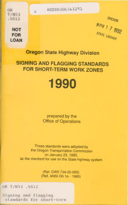 "This archived document is maintained by the Oregon State Library as part of the Oregon Documents Depository Program.  It is for informational purposes and may not be suitable for legal purposes., ""(6-90)""--Back cover, ""(Ref. OAR 734-20-005), (Ref. ANSI D6.1e-1989)."", ""These standards were adopted by the Oregon Transportation Commission on January 23, 1990, as the standard for use on the state highway system."", Title from cover, Mode of access: Internet from the Oregon Government Publications Collection."