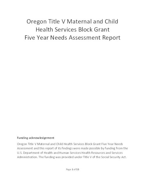 Title from PDF cover (viewed on July 3, 2019)., This archived document is maintained by the State Library of Oregon as part of the Oregon Documents Depository Program. It is for informational purposes and may not be suitable for legal purposes., Funding from the U.S. Department of Health and Human Services Health Resources and Services Administration., Mode of access: Internet from the Oregon Government Publications Collection., Text in English.