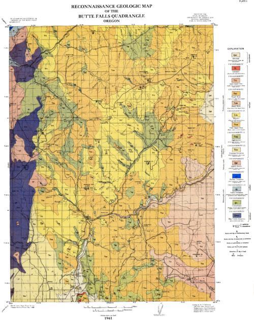 Reconnaissance Geologic Map Of The Butte Falls Quadrangle Oregon - Map of us oregon