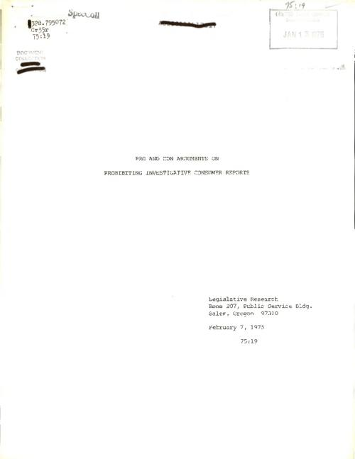 """February 7, 1975."", Title from PDF cover (viewed on March 2, 2017)., This archived document is maintained by the Oregon State Library as part of the Oregon Documents Depository Program. It is for informational purposes and may not be suitable for legal purposes., Includes bibliographical references., Mode of access: Internet from the Oregon Government Publications Collection., Text in English."