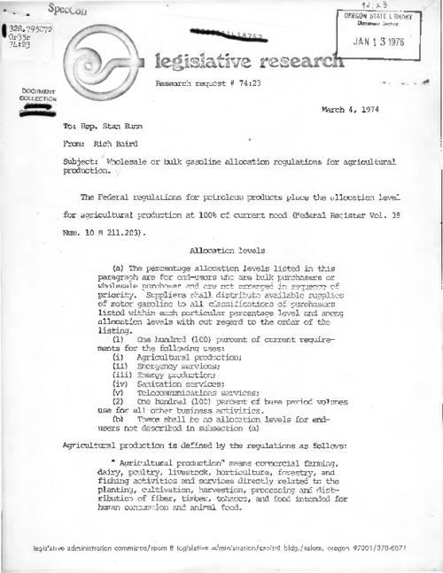 """March 4, 1974."", Title from PDF caption (viewed on March 2, 2017)., This archived document is maintained by the Oregon State Library as part of the Oregon Documents Depository Program. It is for informational purposes and may not be suitable for legal purposes., Mode of access: Internet from the Oregon Government Publications Collection., Text in English."