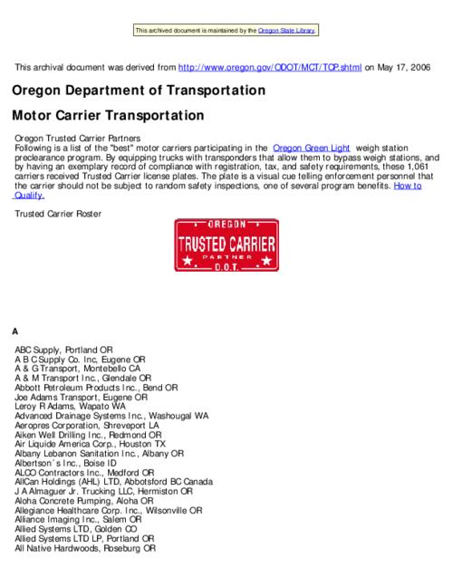 "This archived document is maintained by the Oregon State Library as part of the Oregon Documents Depository Program.  It is for informational purposes and may not be suitable for legal purposes., ""Last modified: May 2, 2006"" -- File metadata, Title from Web page (viewed on May 19, 2006), Mode of access: Internet from the Oregon Government Publications Collection."