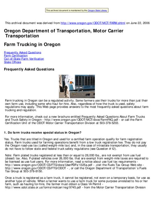 This archived document is maintained by the Oregon State Library as part of the Oregon Documents Depository Program.  It is for informational purposes and may not be suitable for legal purposes., Title from Web page (viewed on June 29, 2006), Mode of access: Internet from the Oregon Government Publications Collection.