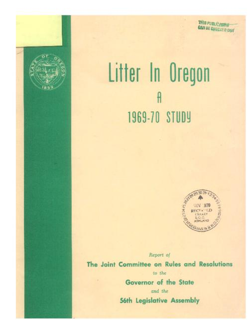 This archived document is maintained by the Oregon State Library as part of the Oregon Documents Depository Program.  It is for informational purposes and may not be suitable for legal purposes., Cover title, Bibliography: p. 40-41, Mode of access: Internet from the Oregon Government Publications Collection.