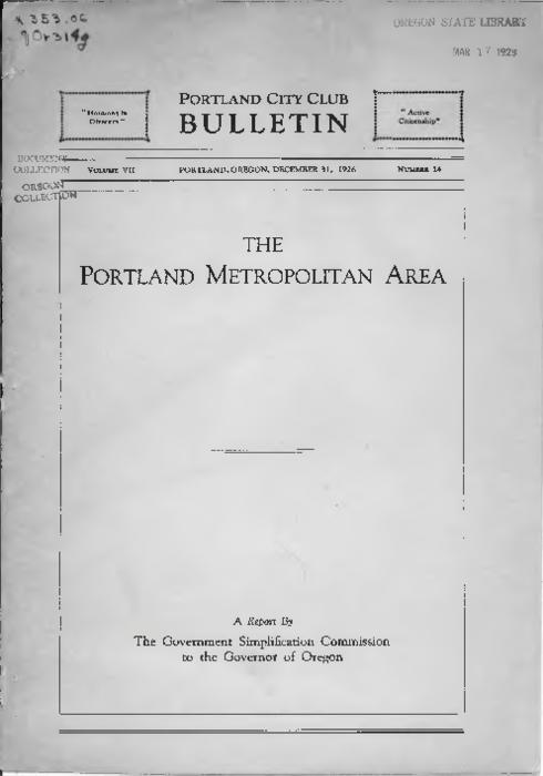 City Club of Portland. Portland City Club bulletin. v.7, no.14., Title from PDF caption (viewed on April 19, 2017)., This archived document is maintained by the Oregon State Library as part of the Oregon Documents Depository Program. It is for informational purposes and may not be suitable for legal purposes., Mode of access: Internet from the Oregon Government Publications Collection., Text in English., In: Portland City Club bulletin, v. 7, no. 14 (December 31, 1926)