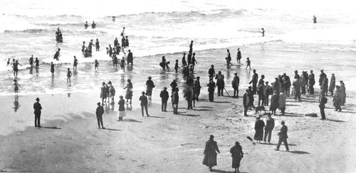 View looking down on the Beach, near Newport., Courtesy of Oregon State Library