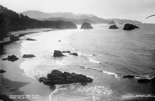 Cannon Beach from Slater Point, Historic views of the Oregon Coast from 1903., Courtesy of Oregon State Library