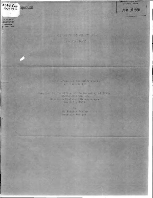 Photocopy of mimeograph., Title from PDF cover (viewed on May 17, 2017)., This archived document is maintained by the State Library of Oregon as part of the Oregon Documents Depository Program. It is for informational purposes and may not be suitable for legal purposes., Mode of access: Internet from the Oregon Government Publications Collection., Text in English.