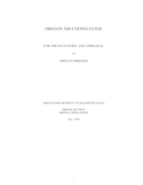 "This archived document is maintained by the Oregon State Library as part of the Oregon Documents Depository Program.  It is for informational purposes and may not be suitable for legal purposes., Title from PDF title page (viewed on Apr. 18, 2006), ""July, 1999."", Mode of access: Internet from the Oregon Government Publications Collection."