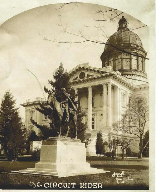 Circuit Rider statue on the grounds of the 1876 Capitol., Courtesy of Oregon State Library