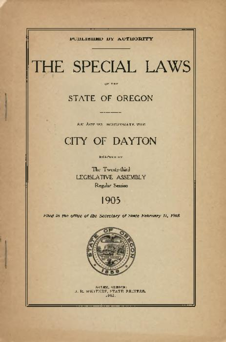 """Filed in the office of the Secretary of State February 11 1905"" -- Title page., Title from PDF title page (viewed on May 22, 2017)., This archived document is maintained by the State Library of Oregon as part of the Oregon Documents Depository Program. It is for informational purposes and may not be suitable for legal purposes., Mode of access: Internet from the Oregon Government Publications Collection., Text in English."