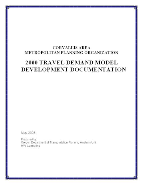 "This archived document is maintained by the Oregon State Library as part of the Oregon Documents Depository Program.  It is for informational purposes and may not be suitable for legal purposes., Title from PDF caption (viewed on May 6, 2011), ""May 2008."", Appendix A includes: Corvallis Area Metropolitan Planning Organization transportation demand model development documentation report, Includes bibliographical information, This report and the Oregon Transportation and Growth Management Program are funded in part by the Federal Highway Administration, U.S. Department of Transportation, Mode of access: Internet from the Oregon Government Publications Collection."