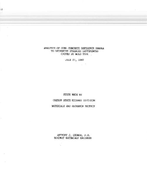 "This archived document is maintained by the Oregon State Library as part of the Oregon Documents Depository Program.  It is for informational purposes and may not be suitable for legal purposes., Title from PDF title page (viewed on Apr. 21, 2011), ""July 17, 1987."", ""Document Number 978""--Technical report documentation page, ""Specification No. 504""--Technical report documentation page, Includes bibliographical references, Mode of access: Internet from the Oregon Government Publications Collection."