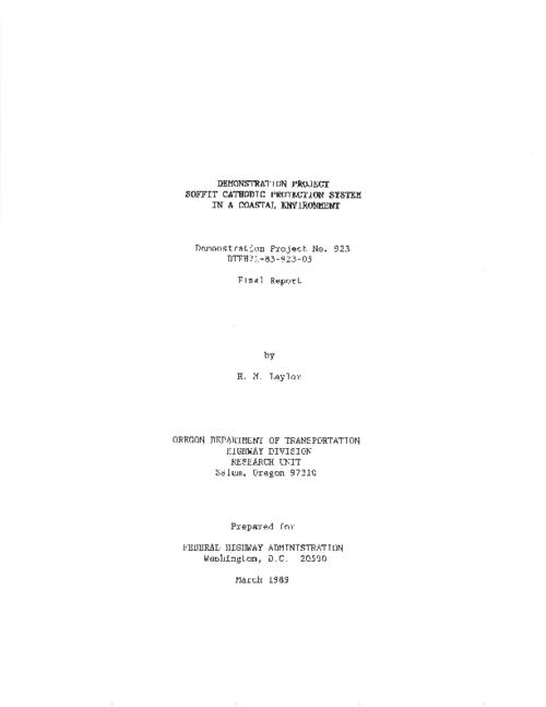 "This archived document is maintained by the Oregon State Library as part of the Oregon Documents Depository Program.  It is for informational purposes and may not be suitable for legal purposes., Title from PDF caption (viewed on Apr. 12, 2011), ""March 1989."", ""FHWA-OR-RD-90-03""--Technical report documentation page, Sponsored by Federal Highway Administration DTFH71-83-923-05 923, Mode of access: Internet from the Oregon Government Publications Collection., Final report; Jun. 1986-Jun. 1988"