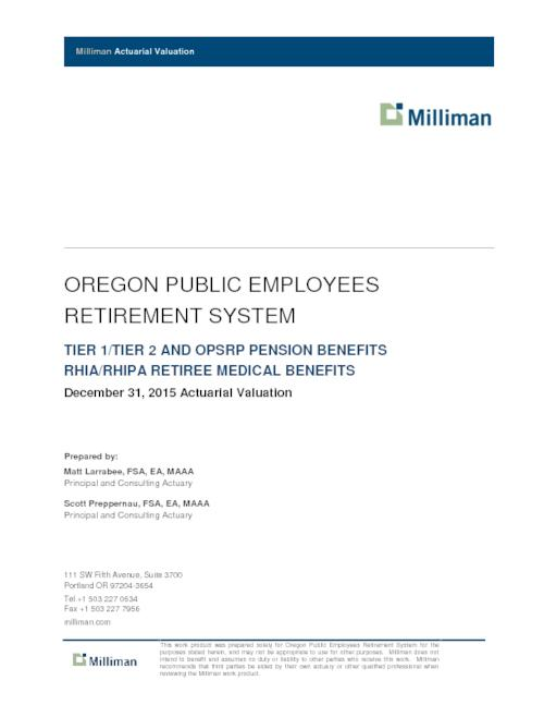 Actuarial Valuation Report  Oregon State Library