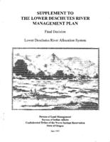 Supplement to the Lower Deschutes River management plan: final decision, Lower...