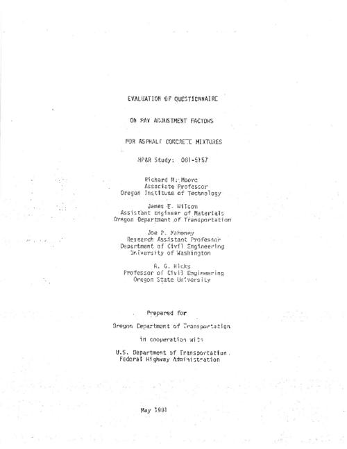 "This archived document is maintained by the Oregon State Library as part of the Oregon Documents Depository Program.  It is for informational purposes and may not be suitable for legal purposes., Title from PDF title page (viewed on Apr. 14, 2011), ""May 1981."", ""FHWA-OR-RD-81""--Technical report documentation page, Includes bibliographical references (p. 48), Sponsored by Oregon Dept. of Transportation, Materials & Research Section and U.S. Dept. of Transportation, Federal Highway Administration, Office of Research and Development HPR 081-5157, Mode of access: Internet from the Oregon Government Publications Collection., Interim report"